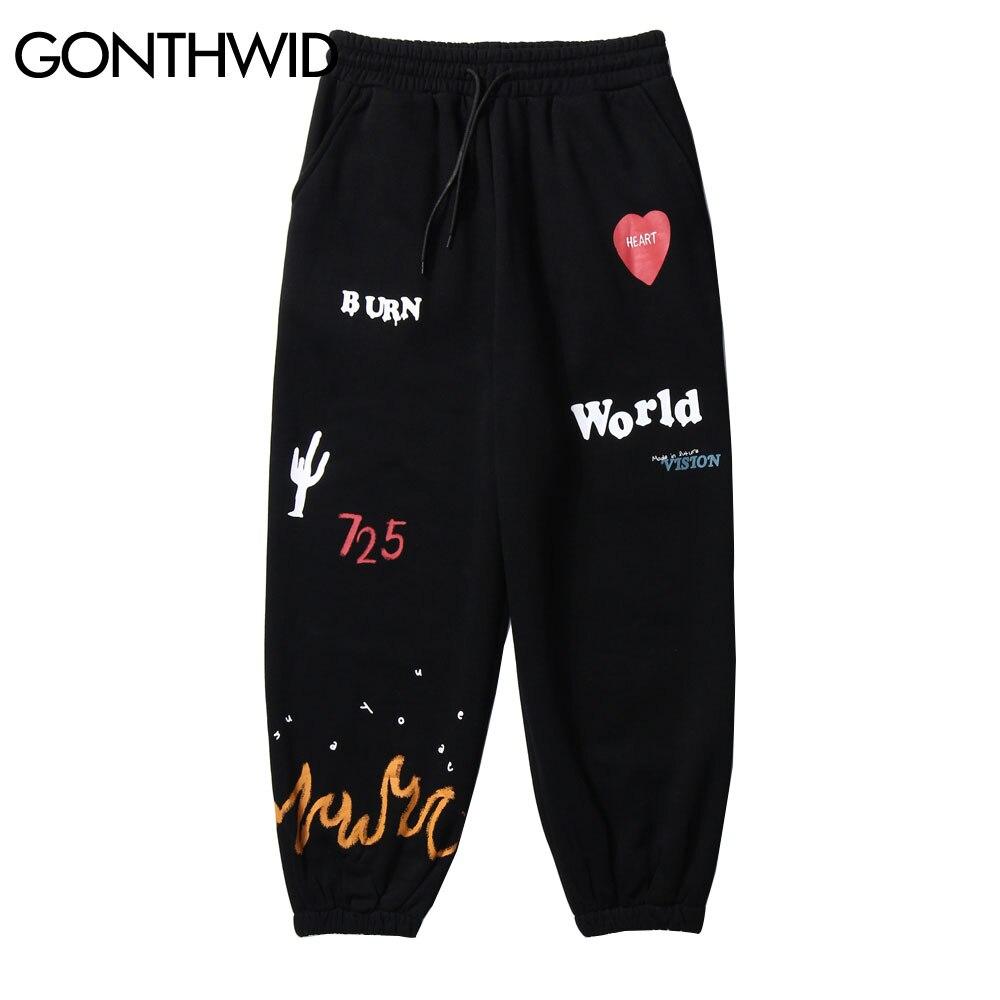 GONTHWID Fire Flame, флисовые тренировочные штаны с принтом кактуса, уличная одежда в стиле хип-хоп, повседневные свободные спортивные штаны для муж...