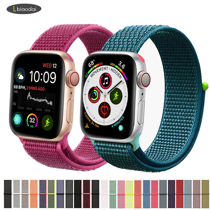 Tali Nilon untuk Apple Watch Band 42 Mm 38 Mm IWatch 4 Band 44 Mm 40 Mm Gelang Sport Loop watchband Watch Sabuk Bernapas 5 4 3 2 1