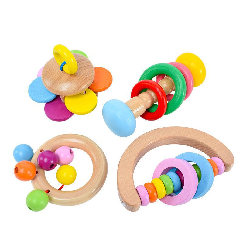 Wood Baby Toys Rattles Baby Bed Hand Bell Rattle Toy Handbell Musical Educational Instrument Toddlers Rattles Teether