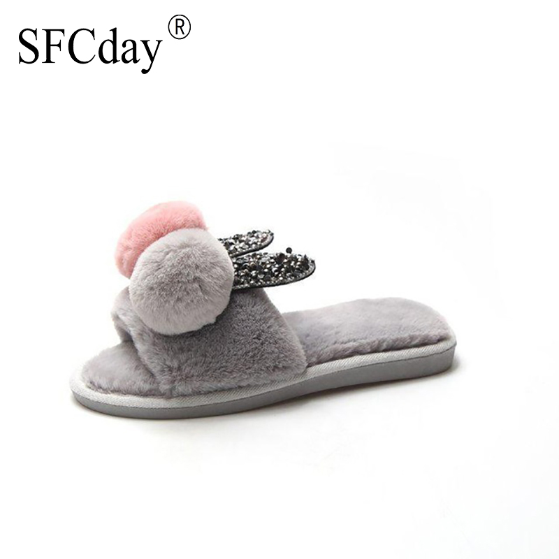 NEW 2020 Winter Warm Sweet Fur Indoor Slippers for Women Cute Rabbit Ears Pattern Floor Slippers Winter Crystal Flats Shoes