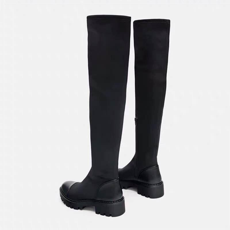 2019 Slim Stretch Lycra genou bottes hautes plate-forme bottes d'hiver femmes bottes longues chaussures d'hiver femmes chaussette bottes sur le genou bottes - 3