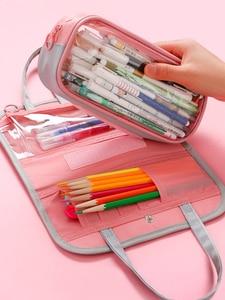 Image 2 - Multi Function Waterproof Large Capacity Pen Bag Pencil Case Schoolgirl High Capacity Stationery Case Originality Girl