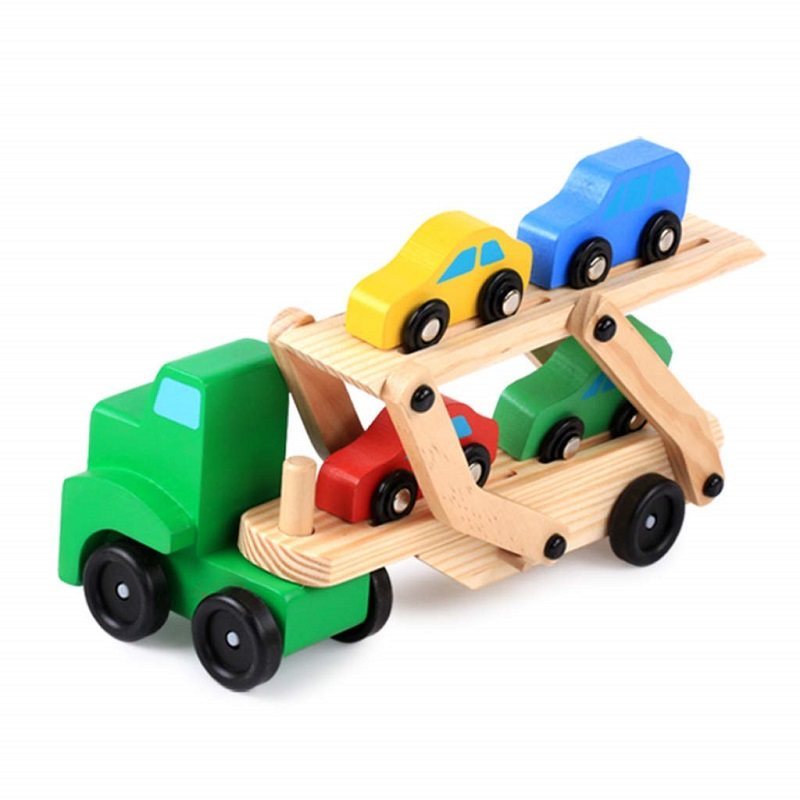 Baby Toys Montessori Wooden Assembly Transport Truck Carrier Toys For Kids Learning Education 5pcs Cars Model Gift For Children