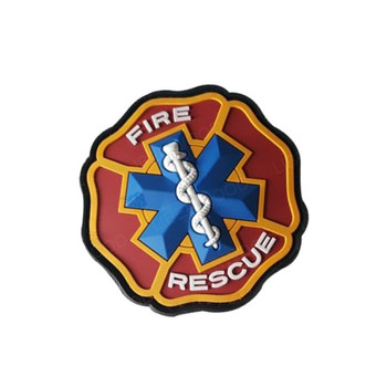Parche de PVC 3D con gancho de fuego y rescate, brazalete emblema médico, parches DIY, para ropa, apliques, insignia táctica, Parche Militar