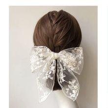 Новый милый черный белый хлопок hairgrip Кружева цветок лук