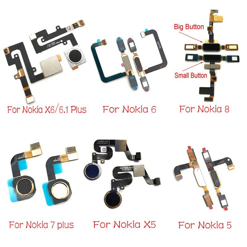 New Home Button For Nokia 5 6 8 7 5.1 Plus 6.1 X5 X6 Touch ID Fingerprint Sensor Flex Cable Replacement Parts