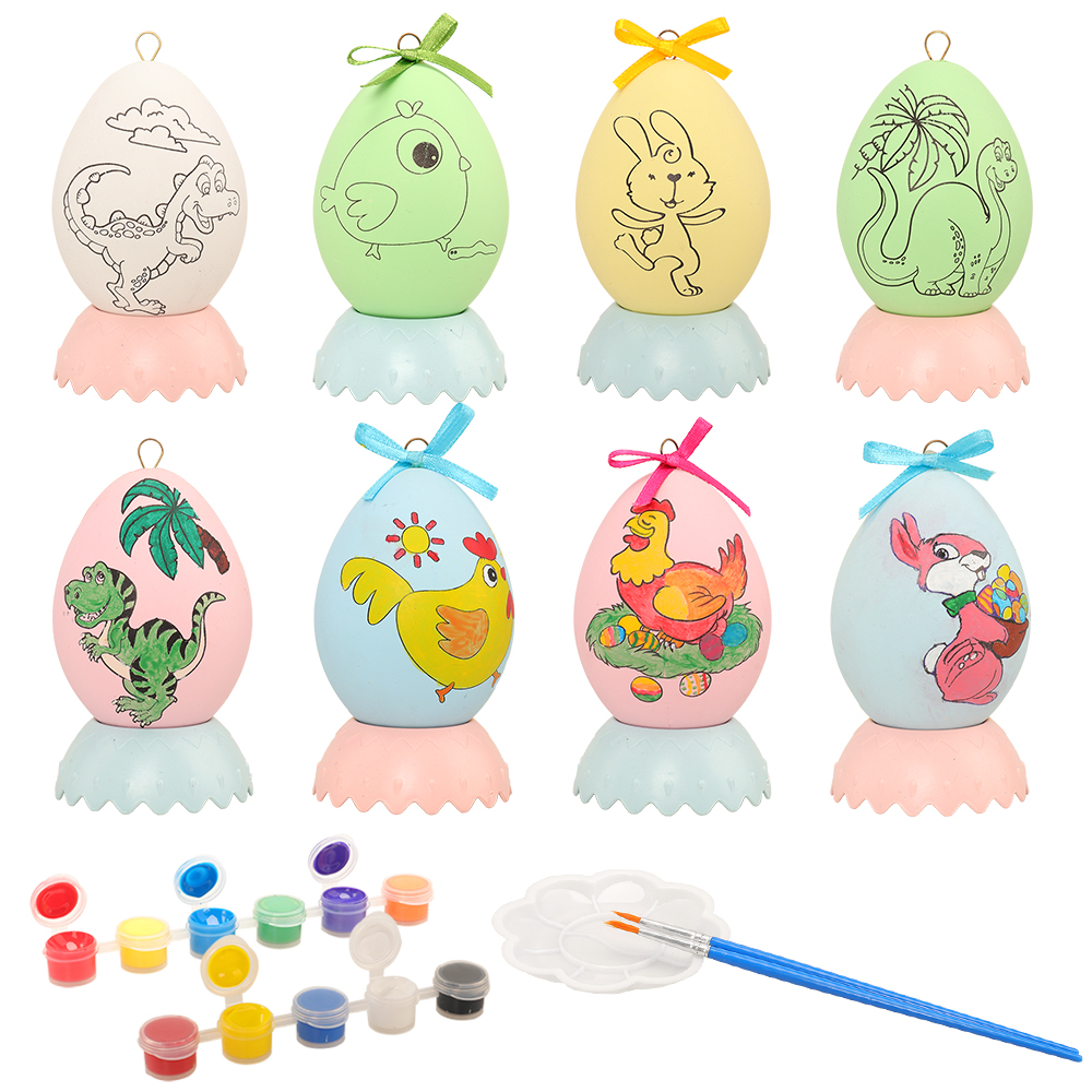 New Arrive Different Pattern Craft 8 Easter Eggs Kids Toys DIY 3D Painting Brush 10 Colors Paint For Children Arts Birthday Gift