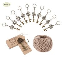 50 Sets Vintage Key Bottle Opener +Tag Card Keychain Wedding Party Favors Souvenirs Bridesmaid Gift Wedding Details For Guests
