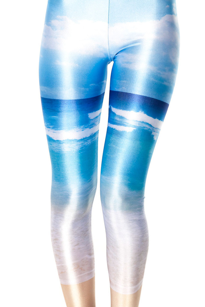 3D Digital Printing Glossy Pants Blue Sky White Cloud Beach Tight Underpants