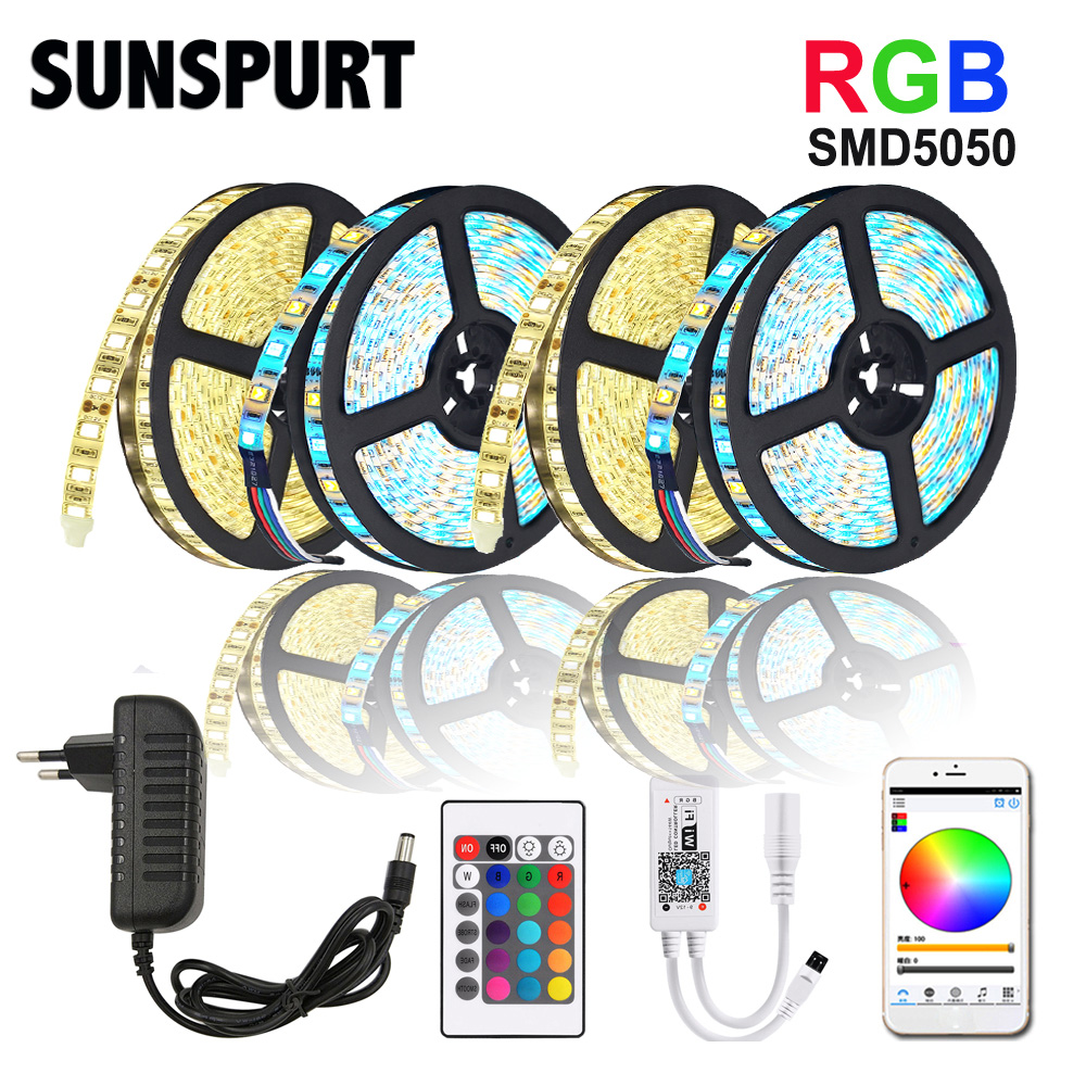 5m-100m WiFi/IR/2.4G Touch LED Strip Light RGB SMD 2835 5050 RGBW/RGBWW 60leds LED Strip Tape DC 12V+ Remote Control+ Adapter EU