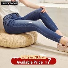 Metersbonwe Slim Jeans For Women Jeans Hole Design Woman Blu