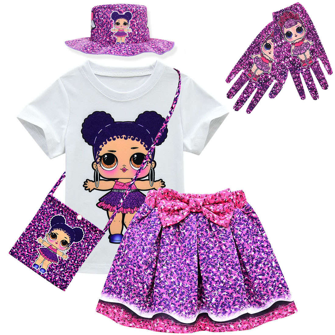 Summer Toddler Kids Short Sleeve T-shirt+Skirt Set Lol Dress Girls Clothes Children's Doll Cartoon Print Princess Girls Dress