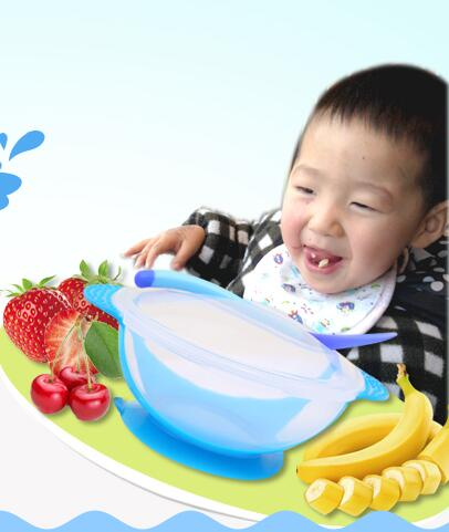 Feeding Bowl Baby Children's Tableware Baby Sucker Bowl Dinner Induction Spoon Baby Food Feeding Safe Bowl Cutlery Set