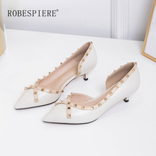 ROBESPIERE Women Rivet Shoes New Pointed Toe Mid Heels Classics Punk Woman Autumn Shallow Slip On Dress Office Pumps A108