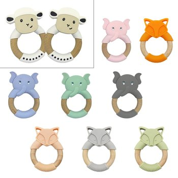 Let's Make 1pc Baby Toys Silicone Baby Teether Beech Wooden Ring Hand Teething Rattles Musical Chew Play Gym Montessori Stroller let s make beech wooden teether ring 10pc 70mm baby teething wooden crafts toys for baby rattles wood ring crib mobile teether