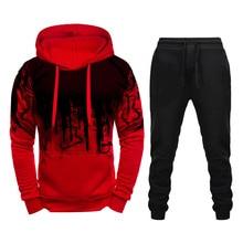 Homens Marca Treino Hoodies e Calças de Moletom Definir Masculino Sportswear Ocasional Duas Peças Define Camisola + Calças Outfit Roupa Dos Homens