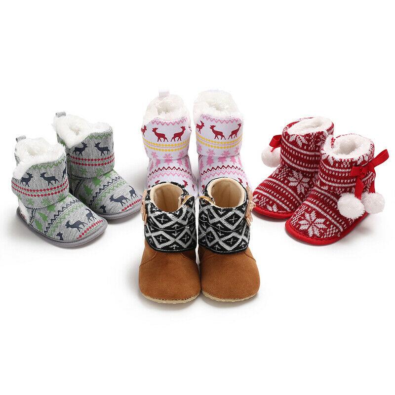 Newborn Baby Girl Toddler Fur Boots Winter Warm Cotton Soft Sole Crib Shoes Christmas Booties Prewalker 0-18M