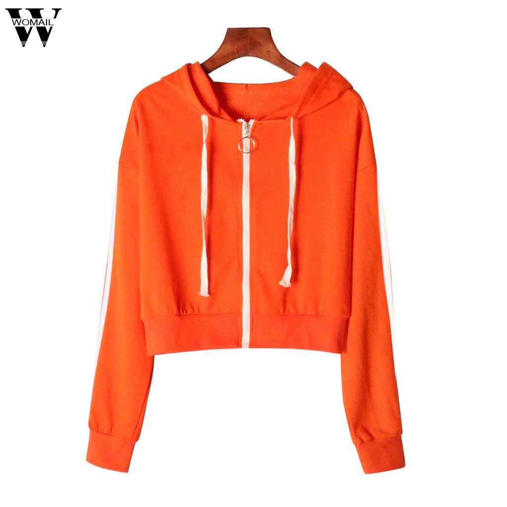 Womail Camisolas das Mulheres Moda Manga Comprida Zipper Geral Solta Camisola Outono Top Pure Mulheres Camisola Hoodies S-XL