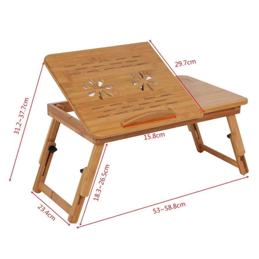 1Pc estante de bambú ajustable estante dormitorio cama Lap escritorio portátil libro bandeja de lectura soporte dormitorio camas