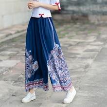 цены Vintage Wide Leg Pants Women 2019 Summer Casual Floral Print Pants Loose Elastic Waist Female Trousers