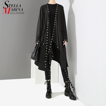 Novo 2020 estilo coreano feminino sólido preto exclusivo casaco aberto design tamanho grande longa fita de metal buracos feminino solto casaco capa 3843