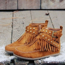 Women Autumn Winter Ankle Boots Tassel Shoes Pu leather Female Buckle Fringe Chelsea Rivet