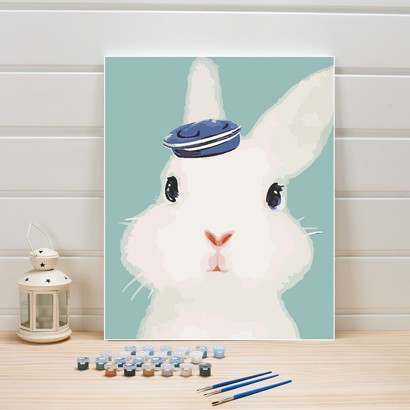 Two White Bunnies Rabbits Animals Canvas Modern Picture Oil DIY Paint by Numbers