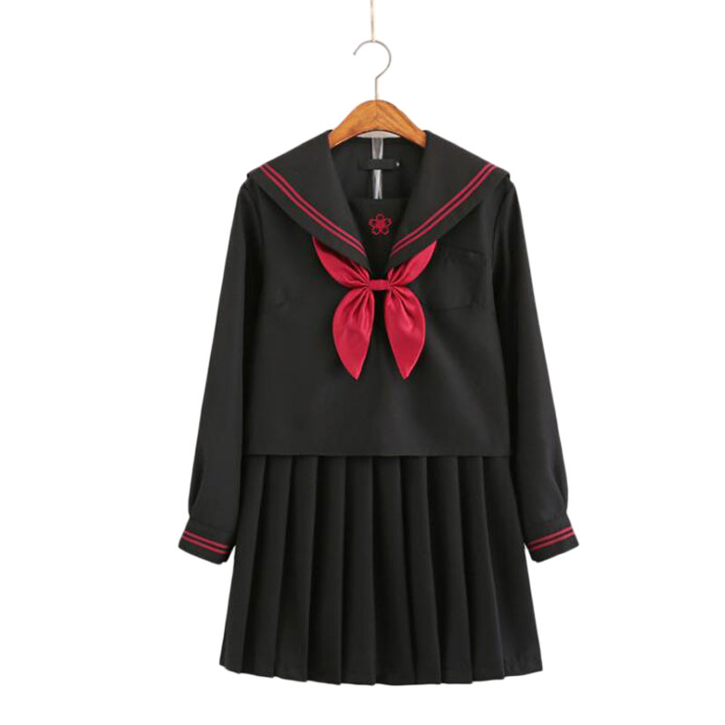 2020 Autumn Japanese School Uniforms For Girls Cute Long-length Sailor Tops Pleated Skirt Full Sets Cosplay JK Costume Series