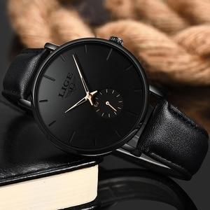 Image 2 - LIGE часы мужские модные повседневные подарочные деловые часы мужские водонепроницаемые кварцевые наручные часы черные кожаные часы Relogio Masculino