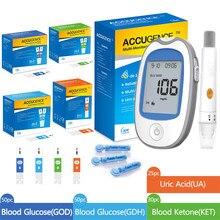 4in1 multifunções medidor de sangue cetona ácido úrico glicose no sangue monitor keto dieta kitdiabetes gota dispositivo com tiras de teste & lancets