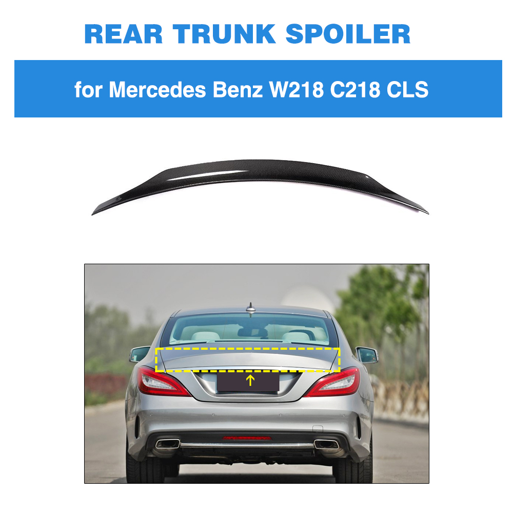 Rear Trunk Spoiler for Mercedes-Benz CLS Class W218 2012 - 2017 Carbon Fiber Trunk Boot Lip
