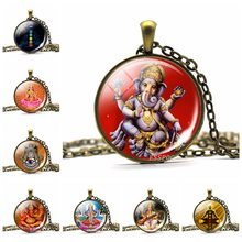 Hinduism God Ganesha Art Picture Cabochon Glass Pendant Necklace Vintage Copper Chain Chakra Yoga Necklace Indian Jewelry(China)