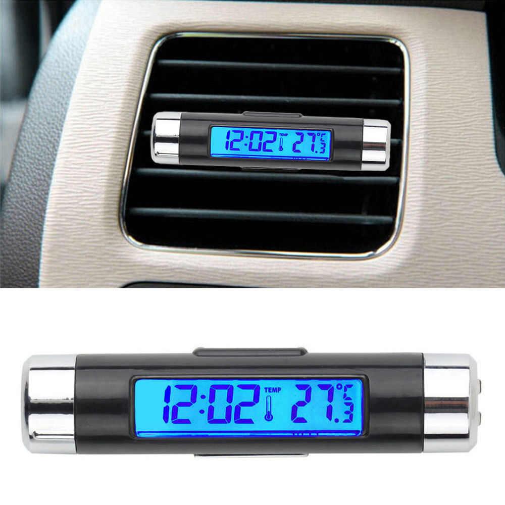 Universal 2 en 1 Mini Salida de coche LCD Digital azul luz de fondo termómetro reloj