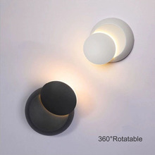 Modern creative wall lamp 360 ° rotatable LED wall lamp bedside lamp 5W Nordic wrought iron round decorative LED wall lamp black modern led wall lamp acrylic round