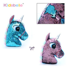 Flip Sequin Unicorn Plush Toys Soft Throw Pillow Glitter Unicorn Stuffed Animals Sofa Cushion Creative Kids Toddler Gifts(China)