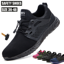 Indestructible Work Shoes Mens Steel Toe Air Mesh Safety Boots Puncture Proof Work Sneakers Breathable Shoes Free Shipping