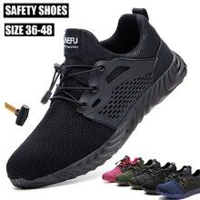 Yıkılmaz iş ayakkabısı Mens çelik ayak hava Mesh güvenlik bot delinme geçirmez iş Sneakers nefes ayakkabı ücretsiz kargo