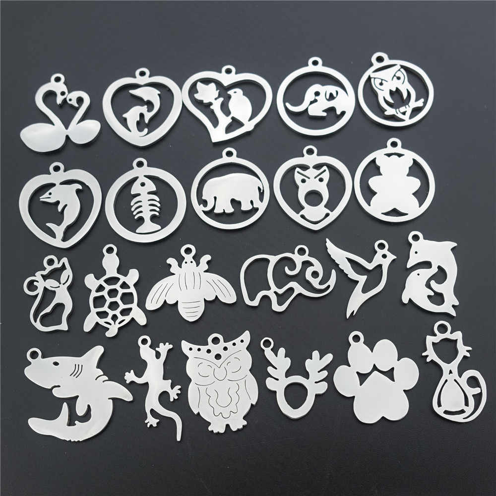 Stainless Steel Charms Component Shark Bee Dove Bear Paw Bird Porpoise Cat Owl Elephant Swan Pendant Diy Jewelry Making Findings