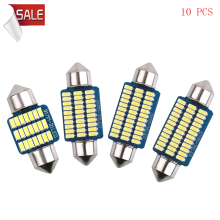 10pcs 6000K 4000k Warm White Festoon C5W C10W 31/36/39/41mm 12V Car Led Bulbs For Auto Internal Reading Dome Lamps Door Diode