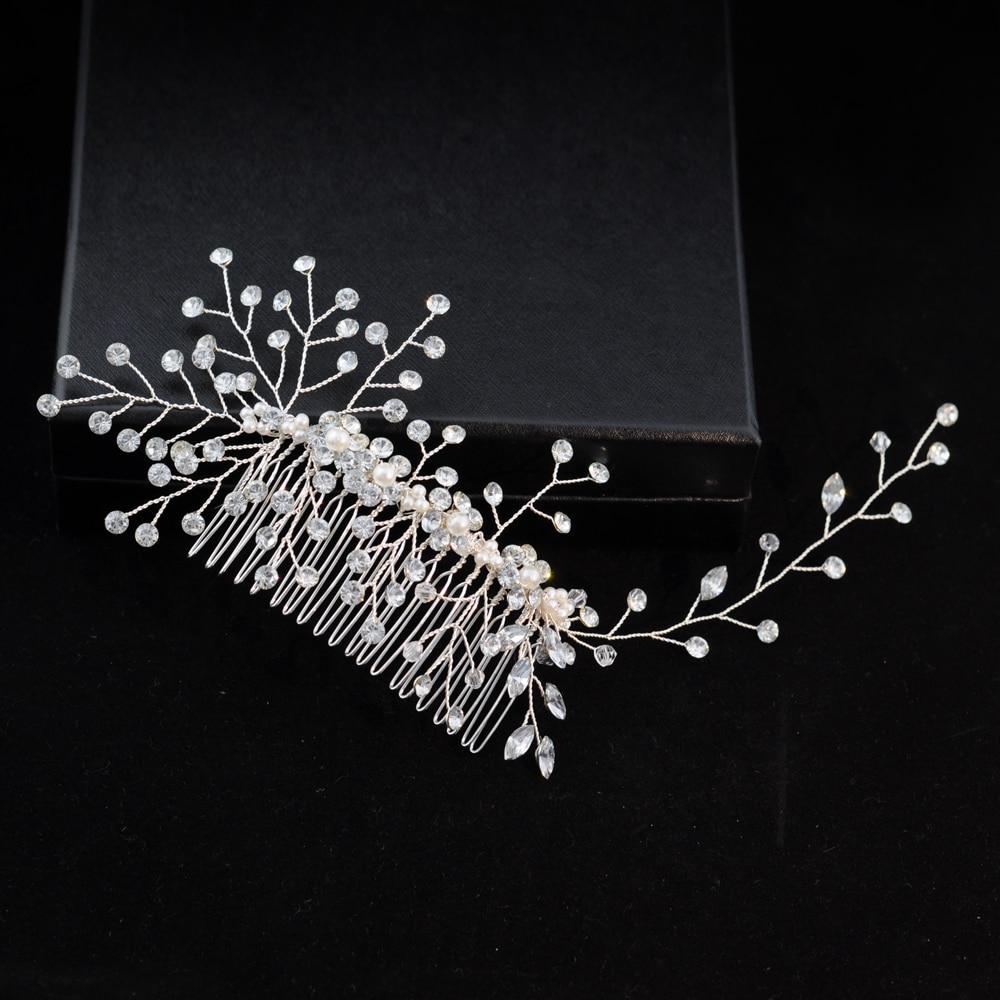 TRiXY H15 Wedding Combs Wedding Hair Accessories Wedding Tiara Handmade Rhinestone Bridal Combs Bridal Hair Jewelry