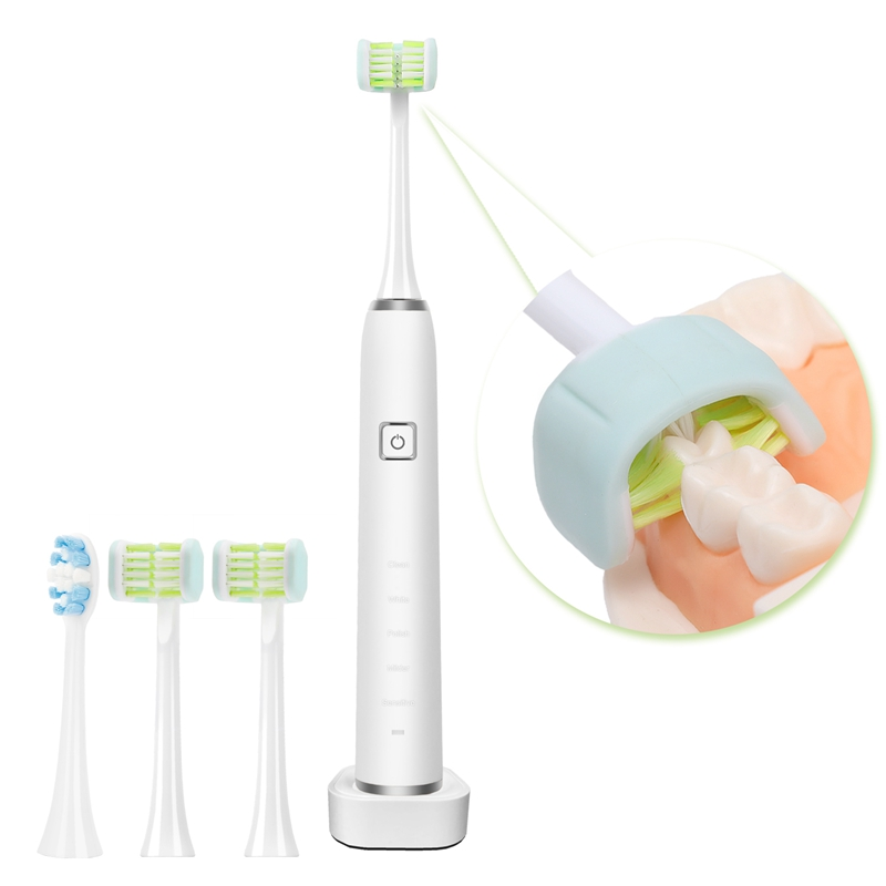 Adult Rechargeable Sonic Electric Toothbrush with 3x Replacement Heads and Portable Toothbrush with Timing Function