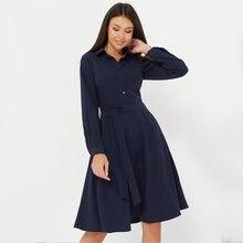 Женское винтажное платье с длинным рукавом однотонное Повседневное