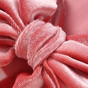 Image 5 - 1 adet katı yay bebek kız Headbands yumuşak naylon yenidoğan türban çocuk bebek kafa sarar yay saç bantları yeni bebek türban damla nakliye