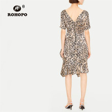 ROHOPO Leopard Draped Asymmetric Ruffled Party Mini Dress High Waist Back Zipper Fly Printed Vestido #1439