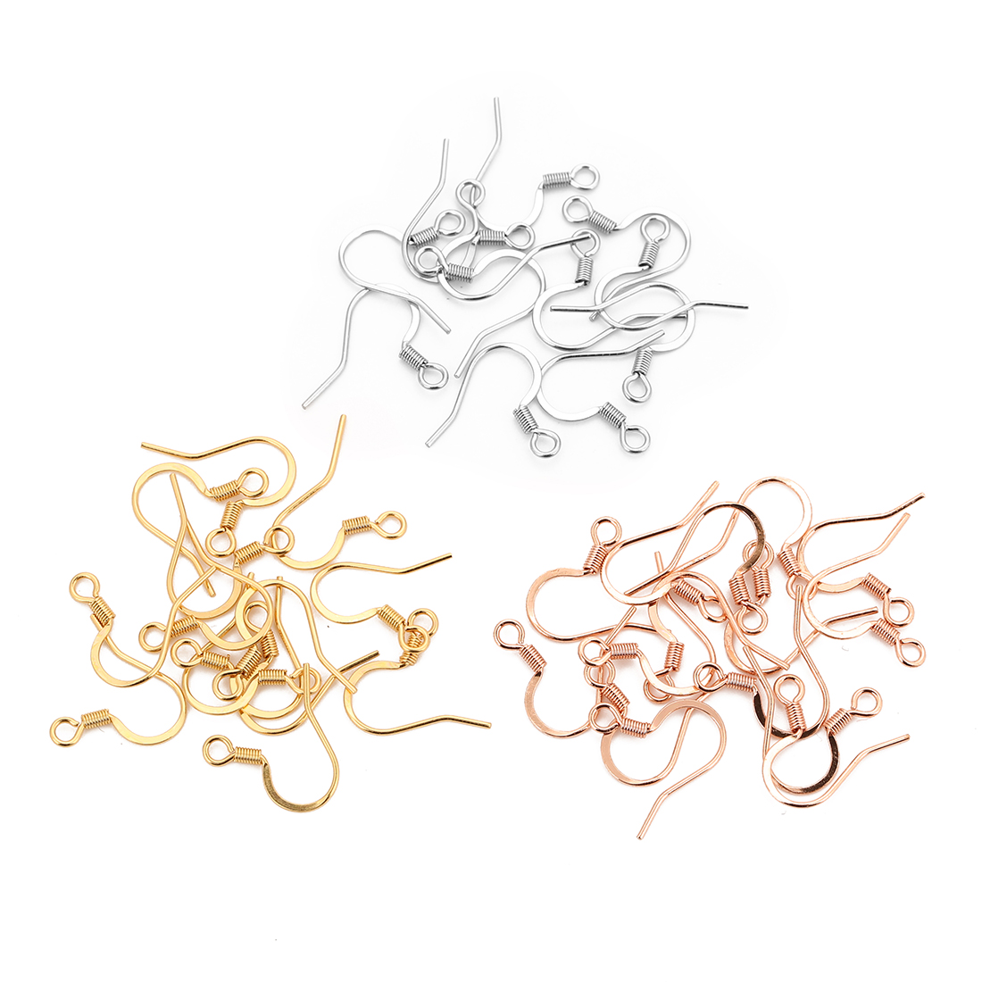 50pcs/lot 316L Surgical Stainless Steel 0.7x15mm Gold Rose Gold Silver Tone Ear Wire Fish Hook DIY Earring Clasp Jewelry Finding