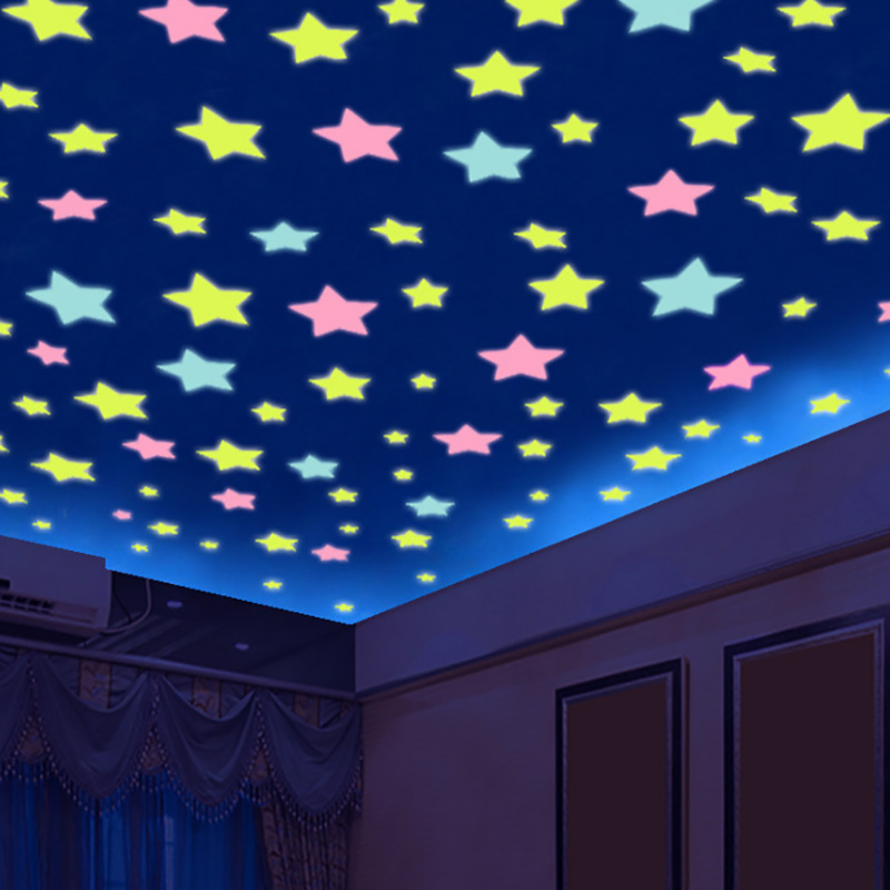1 SET Night Luminous Stars Stickers Funny Toys For Kids Bedroom Decor Christmas Birthday Gift Glow In The Dark Toys