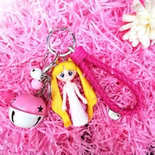 2020 New Cartoon sailor moon key chains teen heart car key chain bell key ring bag pendant is a nice birthday gift for lovers thailand imports genuine gv new moon key pendant