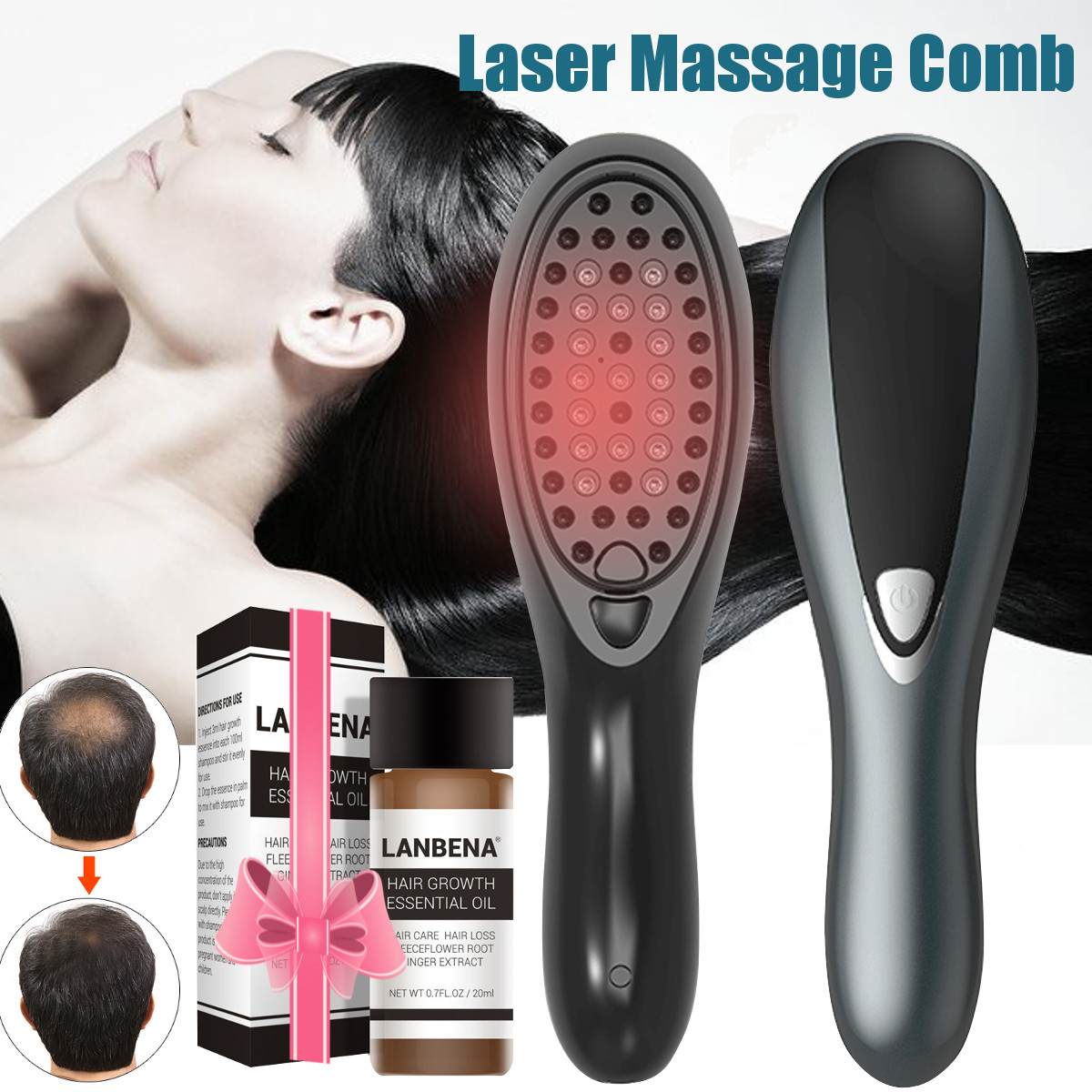 Newest Electric Laser Antistatic Anti-Hair Loss Scalp Massage Comb Brush Hair Growth Regrowth Comb Styling Tool Drop Shipping