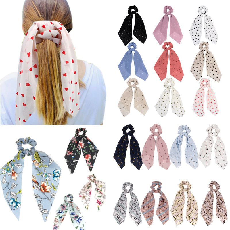 Bohemian New Floral Print Bow Hair Ties For Girls Women Dot Hair Scarf Scrunchies Elastic Hair Ribbon Bands Hair Accessories