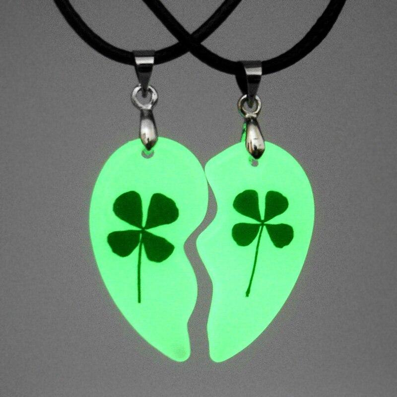 Resin Broken Split Heart Pendant Luminous Clover Necklace Cross Jewelry For Couple Lover Glowing In The Dark Dried Flower 1 Set